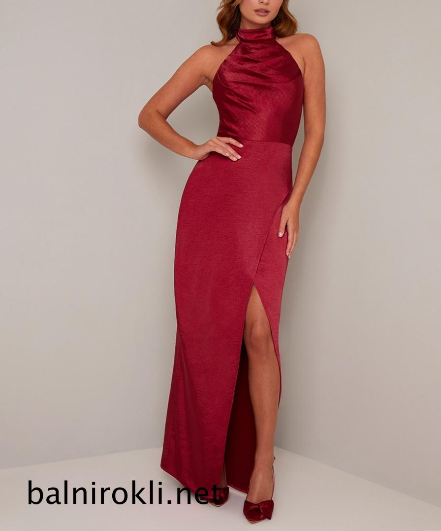 дълга червена бална рокля сатен цепка