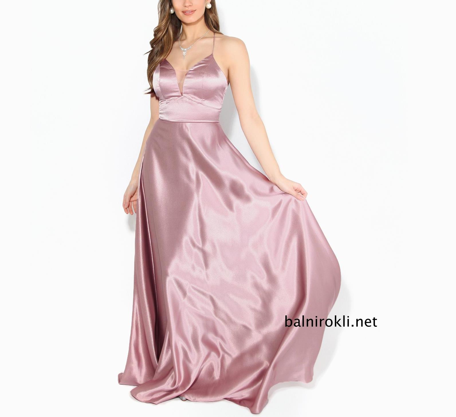 дълга розова бална рокля сатен