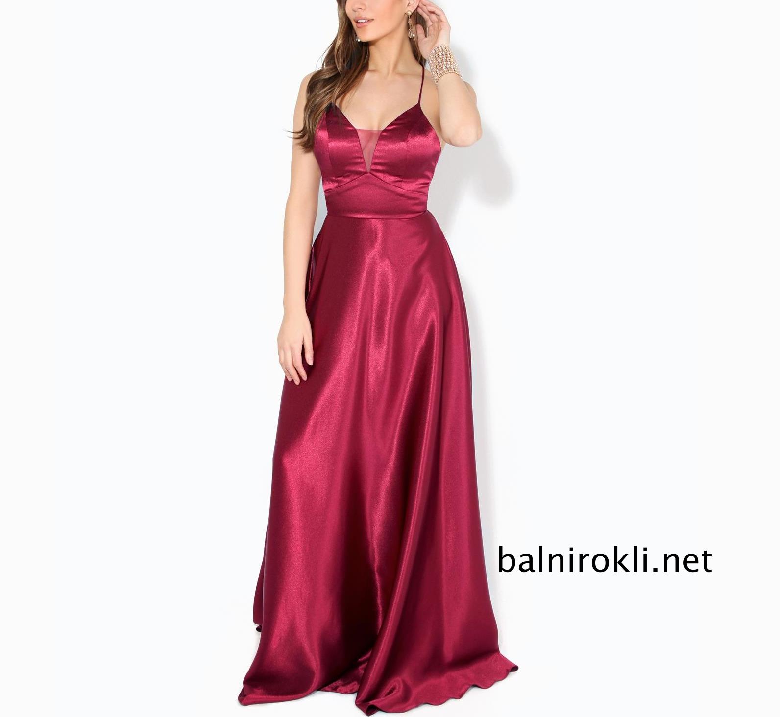 дълга тъмночервена бална рокля сатен
