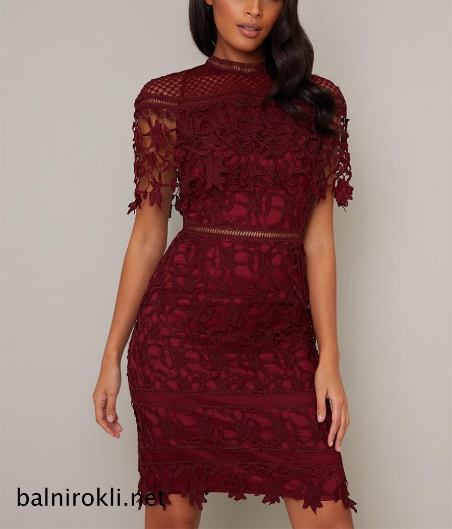 абитуриентска къса дантелена рокля бордо