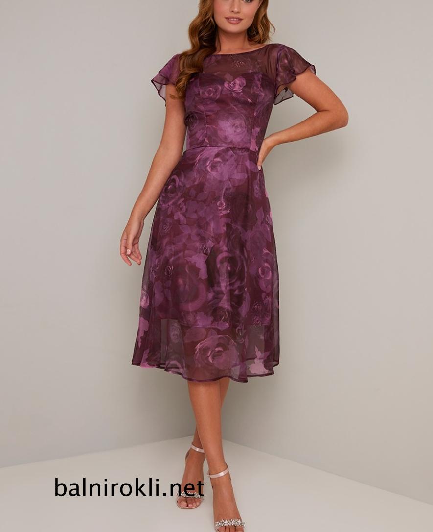 Абитуриентска къса лилава рокля флорал