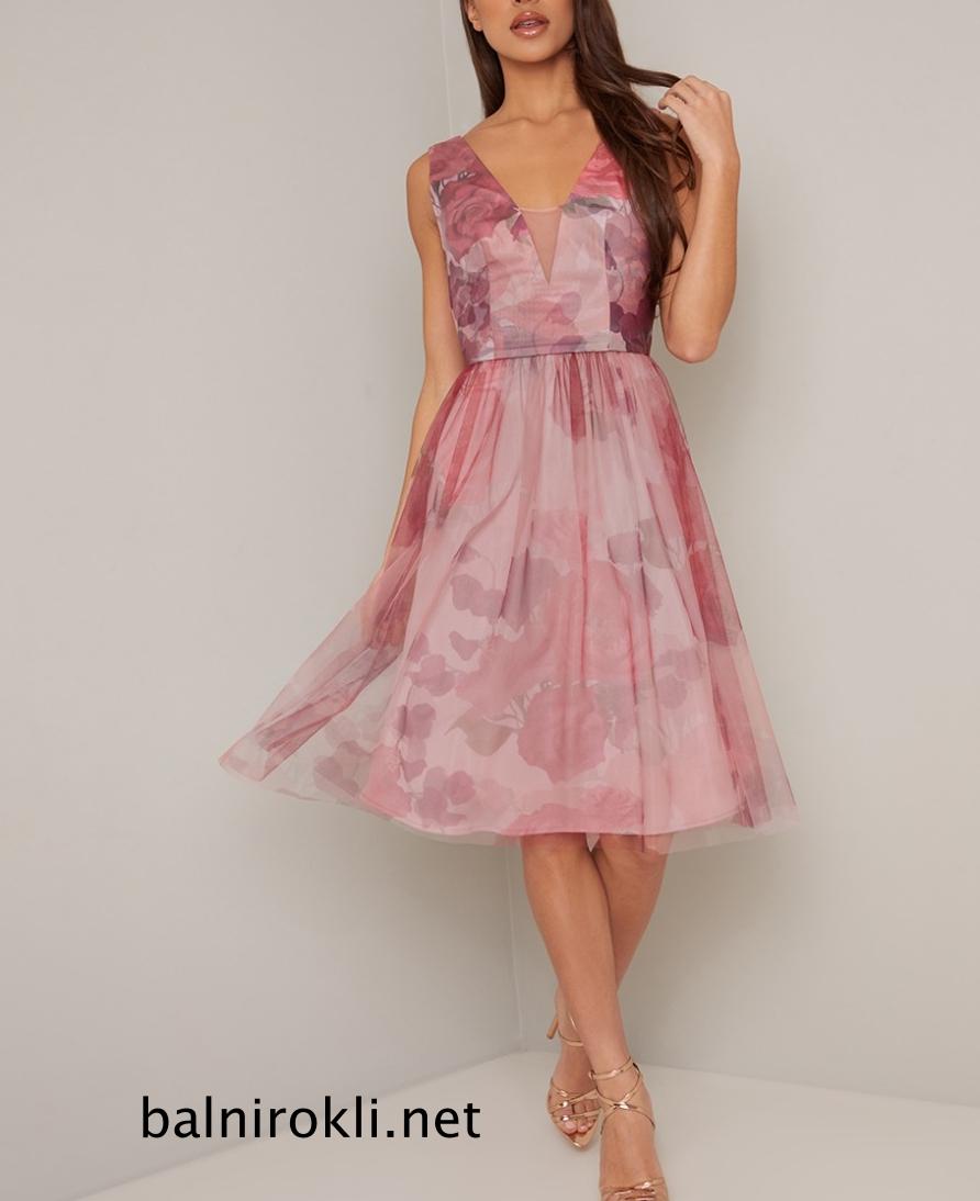 розова къса абитуриентска рокля флорал
