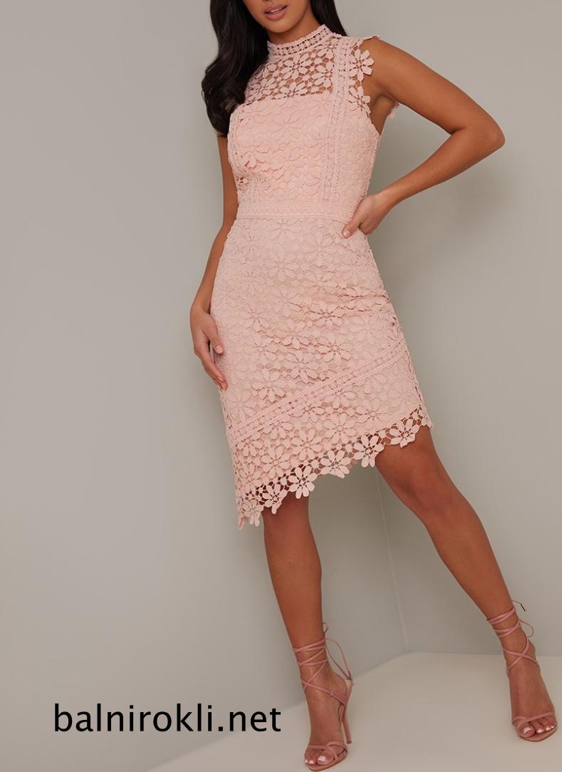 абитуриентска къса дантелена розова рокля