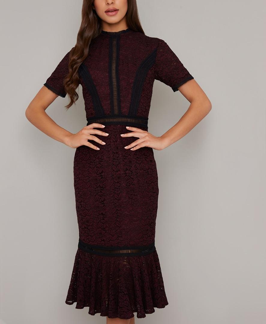 бална черна рокля дантела бордо