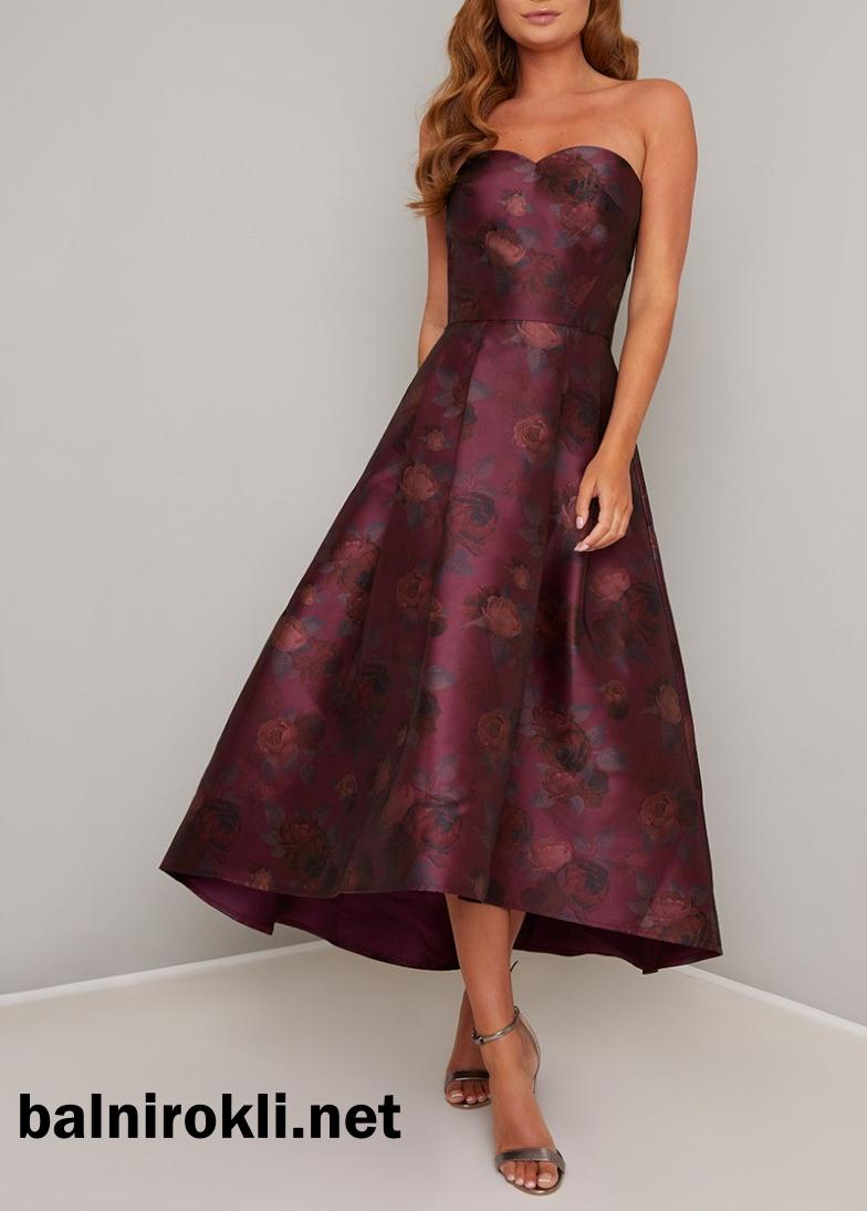 абитуриентска лилава рокля сатен