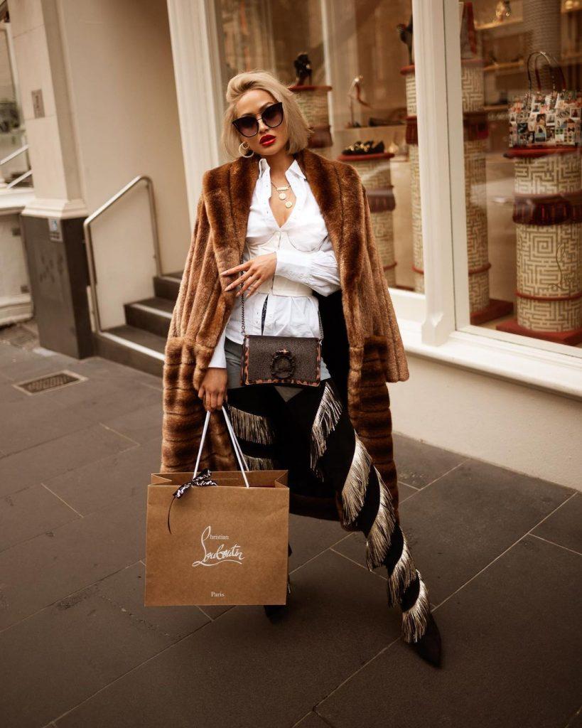 луксозно дълго кожено палто естествена кожа