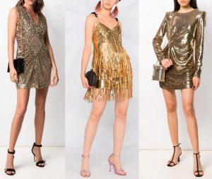 Златни къси рокли
