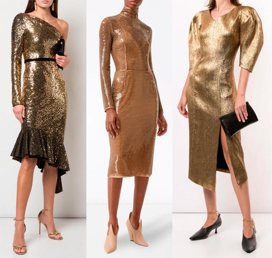 Златна коктейлна рокля