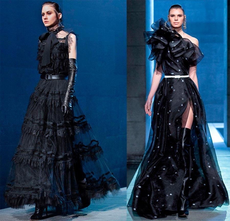 Вечерни черни рокли с корсетни колани
