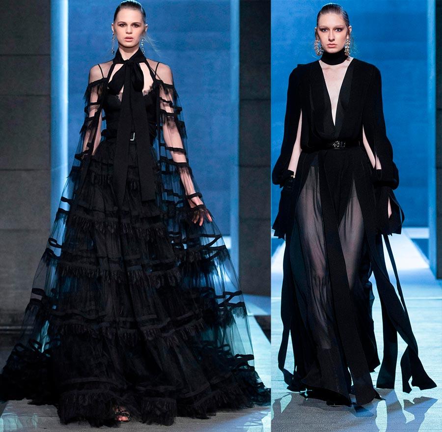 Наслояване в черните вечерни рокли