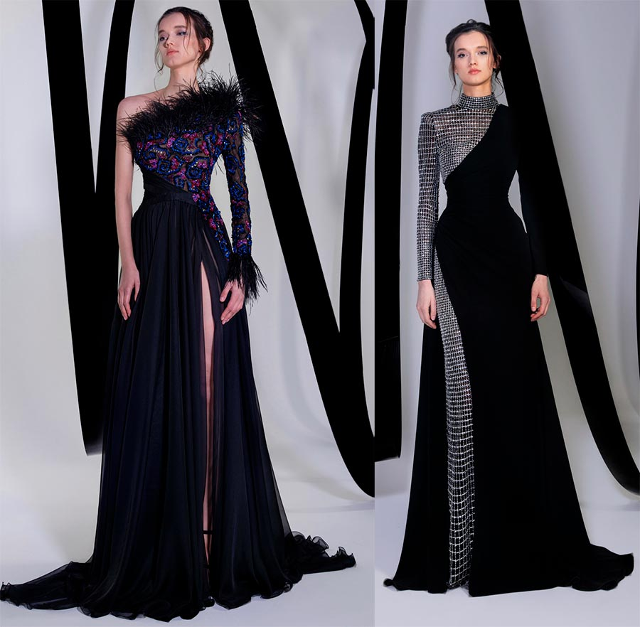 черни вечерни рокли с бижута