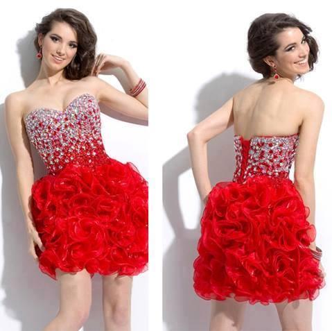 къса червена бална рокля