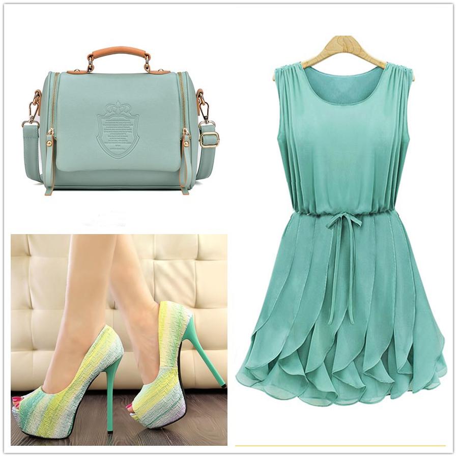 чанта рокля и обувкив син цвят