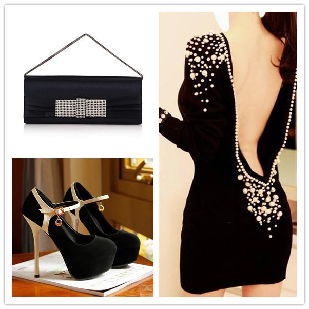 чанта рокля и обувки в черно
