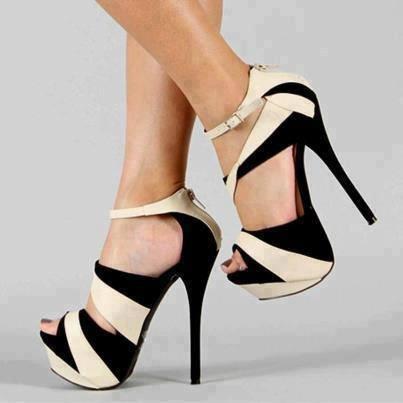 бални обувки черно и бяло висок ток