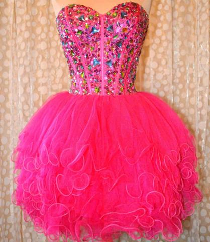 искрящо розова рокля тюл кристали