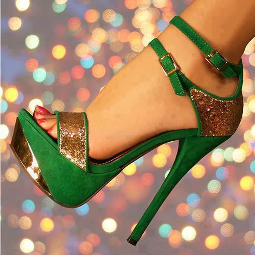 секси бални обувки златно и зелено