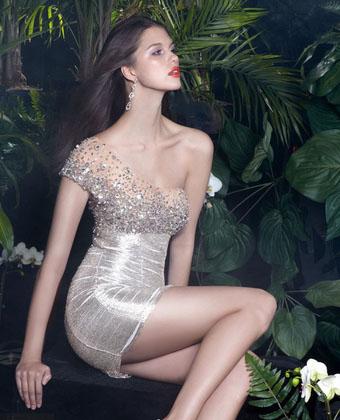 секси блестяща къса сребриста рокля
