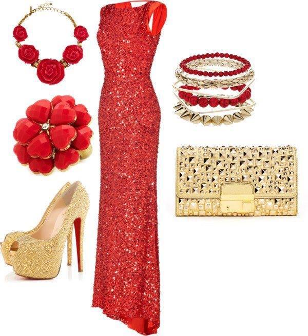 червена блестяща бална рокля пайети и аксесоари