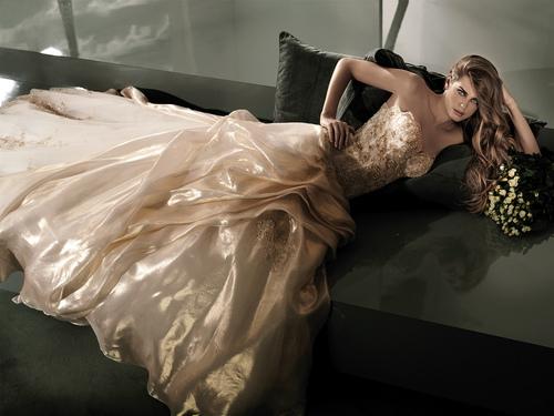 дълга бална рокля шампанско