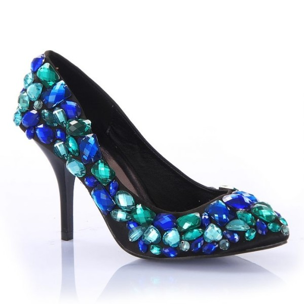 Сини Блестяши Бални Обувки с Камъни