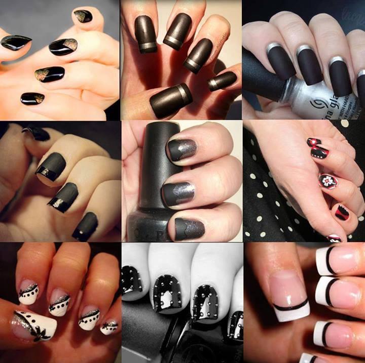 няколко идеи лак за нокти в черно