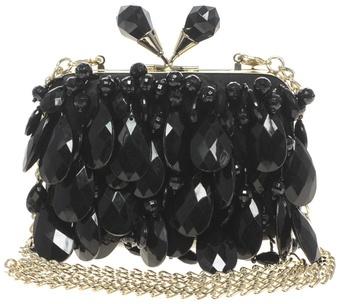 черна елегантна официална чанта с инкрустации