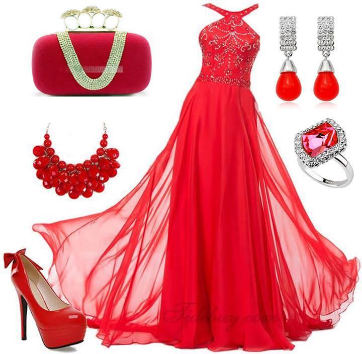 червена официална рокля с червени акскесоари